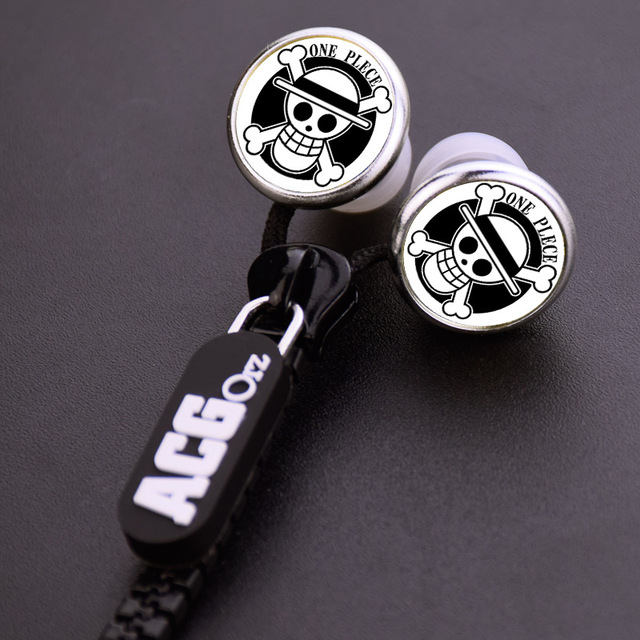 One Piece Luffy Pirates Skull Zipper Cable Earphone