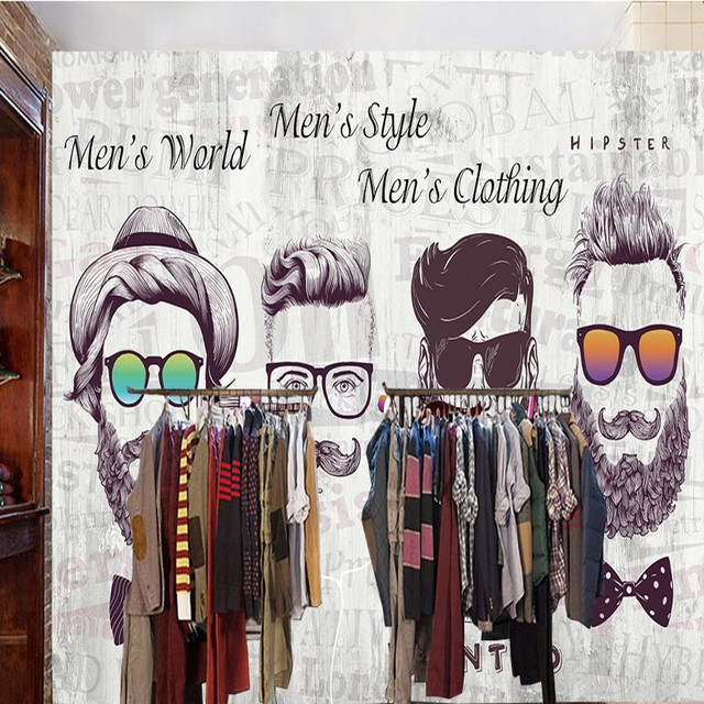 Custom Photo Wallpaper 3D Stereo Trendy Front Beard Clothing Shop Background Wall Lobby Studio