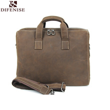 Difenise 2016 New Crazy Horse Leather Men's Handbags Casual Business Laptop Shoulder Bags Briefcase Messenger bag High quality