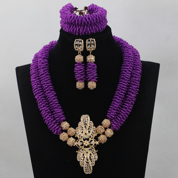New Gorgeous Purple Beads Necklace Jewelry Set for Women Purple Bib Statement Necklace Set Seed Beads Design Free ShippingABL781 gorgeous multilayer beads resin cone tassel necklace for women