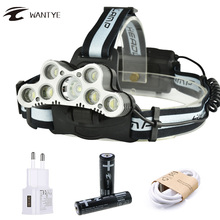 7 LED USB Rechargerable LED Headlight Headlamp 5*XML T6+2*R5 18000LM Head Flashlight Torch 6 Mode Head Lamp For 18650 Battery yunmai usb 20000lm 5 new xml t6 2xpe headlamp head lamp lighting light flashlight torch lantern fishing 18650 battery charger