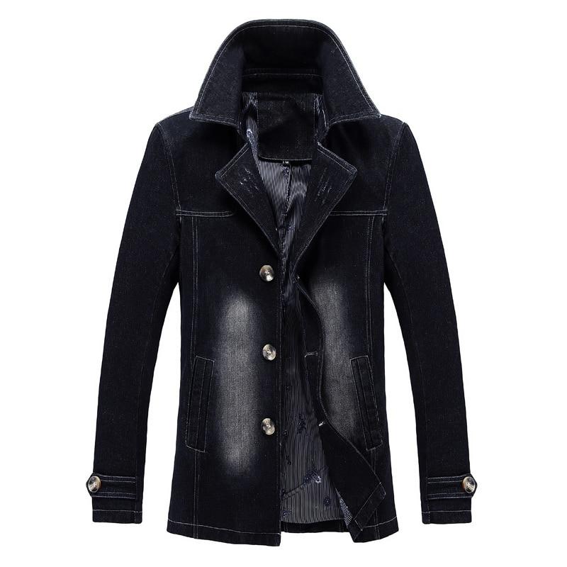 Autumn Fashion Men Jackets Lapel Classical Long Denim Trench Men Coat Big Size S-5XL Elastic Casual Business Outwear Windbreaker