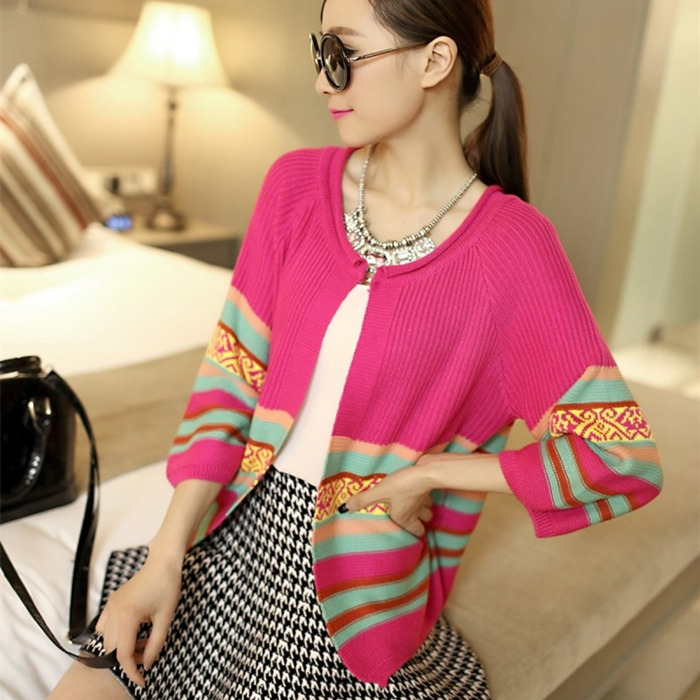 Barbara Fei Sha new spring Korean color Sweater Cardigan Size retro loose sweater coat female shawl
