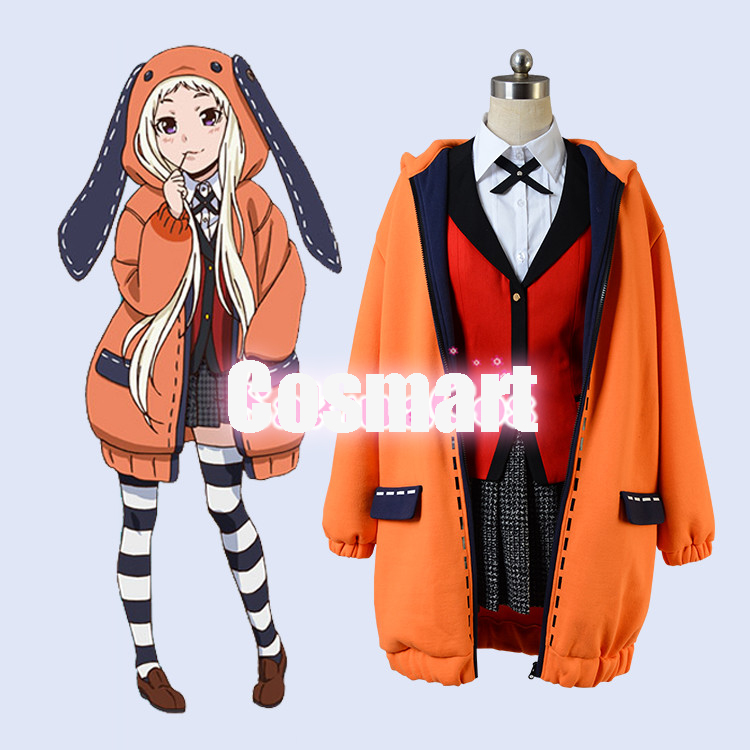 [STOCK]Anime Kakegurui Figure Yomotsuki Runa JK School Girls Uniform +Hoodie Halloween Cosplay Costume For Women Free Shipping