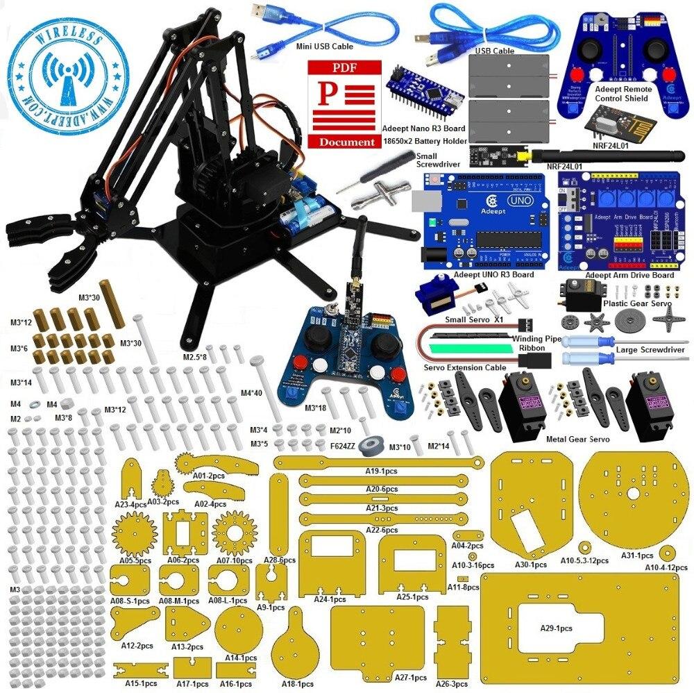 Adeept Роботизированная рука комплект для Arduino с NRF24L01 2.4 г Беспроводной Дистанционное управление Бесплатная доставка Наушники DIY diykit