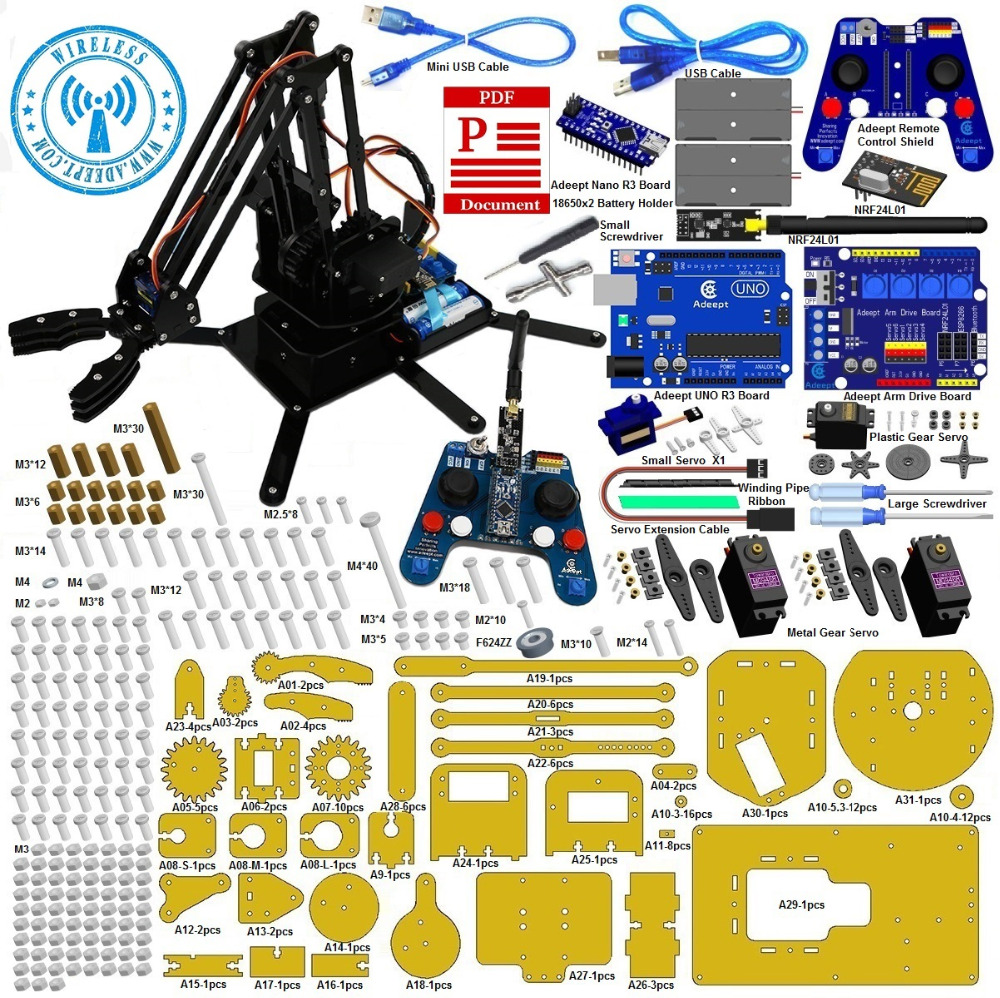 Adeept Robotique Bras kit pour Arduino avec NRF24L01 2.4G Sans Fil Télécommande Freeshipping casque diy diykit
