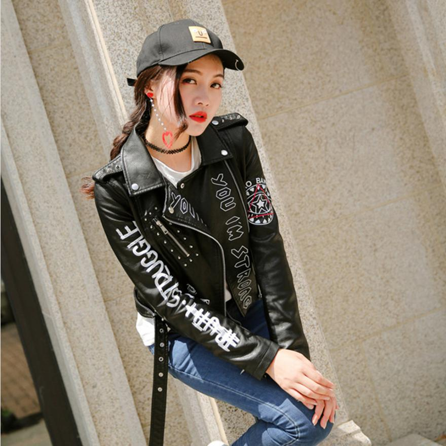 Spring New rivet letters Moto female   leather   jacket short fashion hip-hop street style PU jacket women's   leather   jackets L144