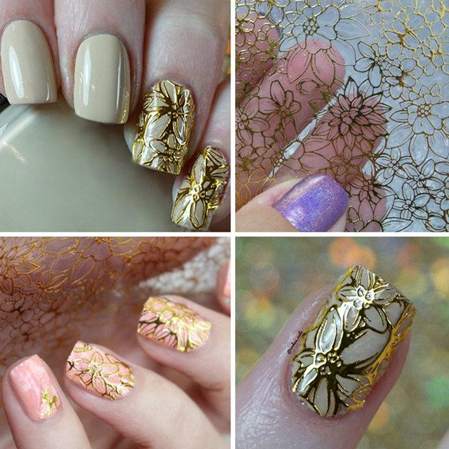 Tienda Online 1 unids en relieve 3D uñas Adhesivos metálico flores ...