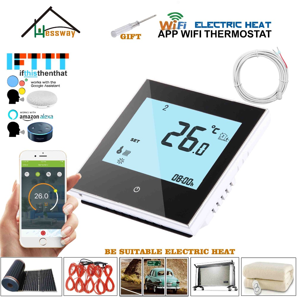 95-240VAC 16A Dual Sensor On/off Electric Heating Wifi Wireless Heating Thermostat Control For White,Black Optional