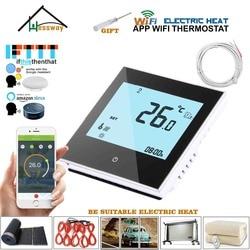 Controle sem fio do termostato do aquecimento de wifi do aquecimento bonde de ligar/desligar do sensor 95-240vac 16a duplo para o branco, preto opcional