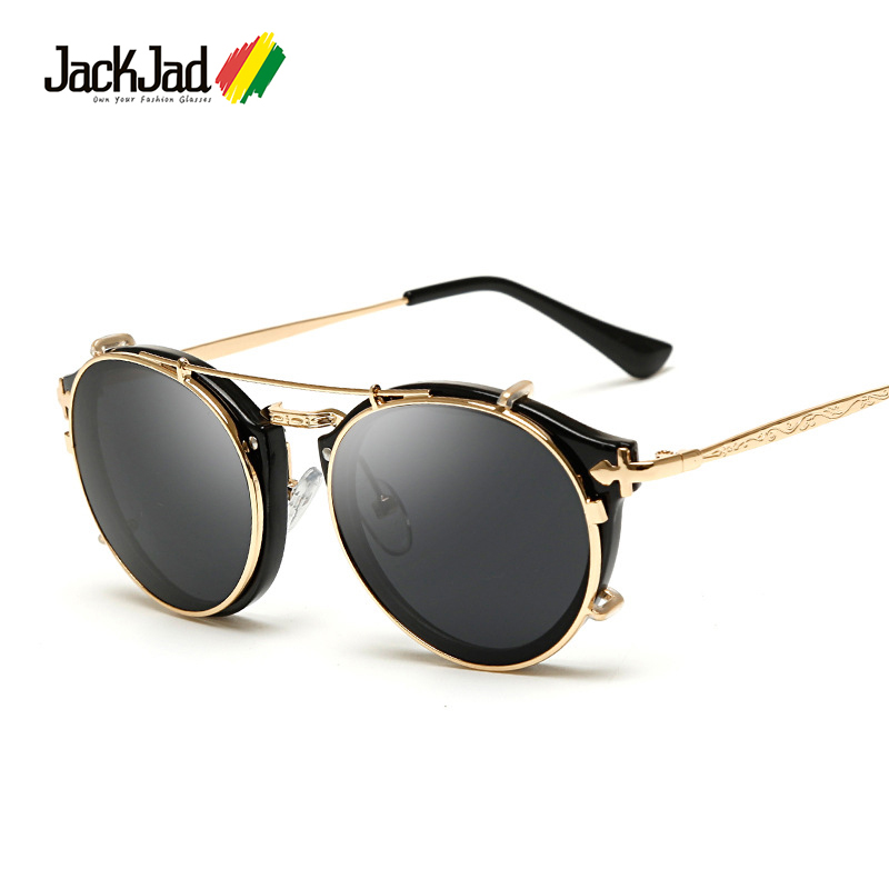 JackJad 2018 estilo De moda SteamPunk Clamshell Gafas De Sol extraíbles Vintage Retro Marca Diseño Gafas De Sol Oculos Gafas De Sol