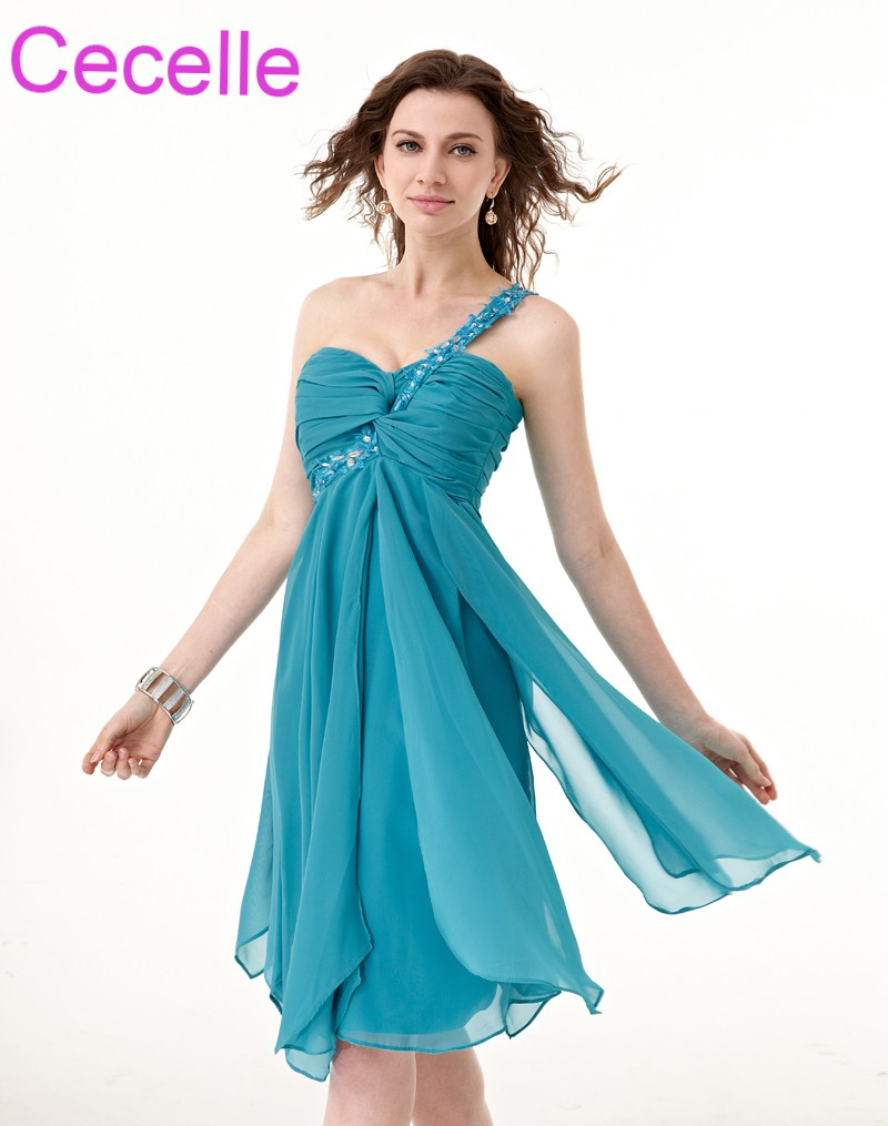 5238b0788bb2b US $73.59 30% OFF|2019 Turquoise Chiffon Beach Short Bridesmaids Dresses  One Shoulder Beaded Pleats Ruffles Country Wedding Party Dress Sale-in ...