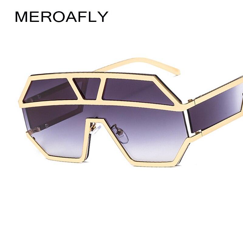 3697de4b7 MEROAFLY Uma Lente Dos Óculos De Sol Com Proteção Lateral 2019 Ouro Preto  Mulheres óculos de Sol Masculinos Grandes óculos de Armação de Metal Homens  UV400 ...