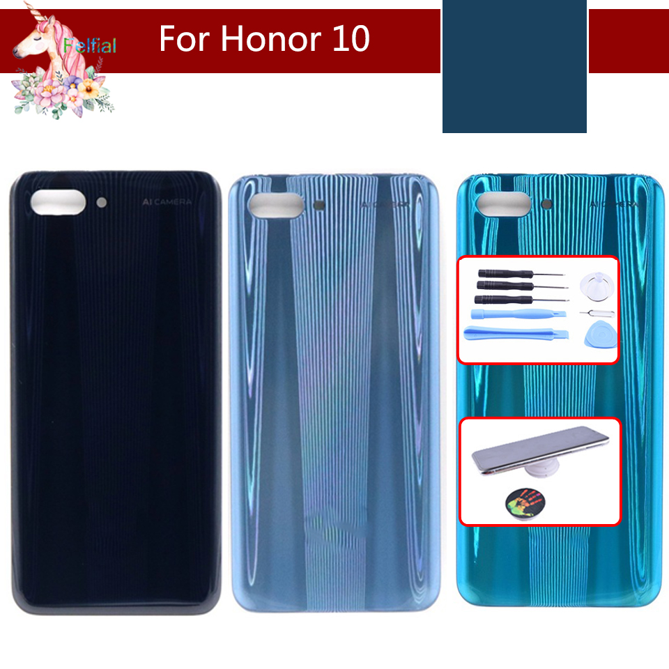 10pcs/lot For Huawei honor 10 COL-L29 Back Battery housing Cover Rear Glass Panel Door Housing Case Repair Replacement Part image