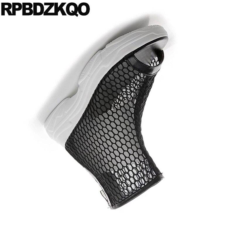 Moyen blanc Harajuku Maille Bottines Noir Chaussures Flatform Noir Peep Muffin Plate forme D'été Femmes Talon Sandales Découpe Toe Détouré 2018 zxqF6wpn