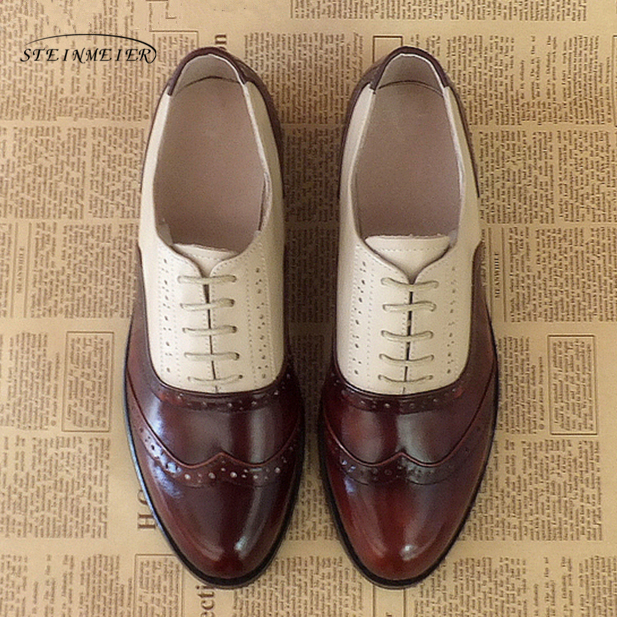 Women flats genuine leather oxford shoes designer vintage round grey toe handmade brown beige grey oxfords shoes for women