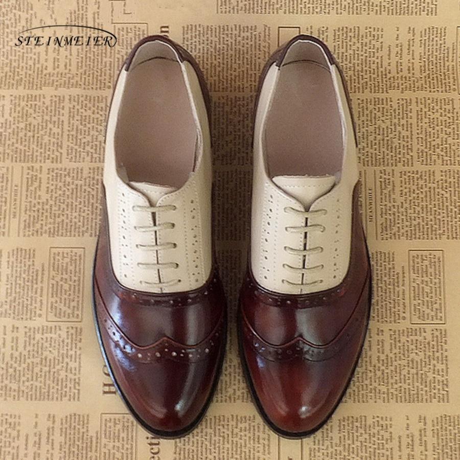 Kvinder lejligheder ægte læder oxford sko designer vintage runde grå tå håndlavede brune beige grå oxfords sko til kvinder