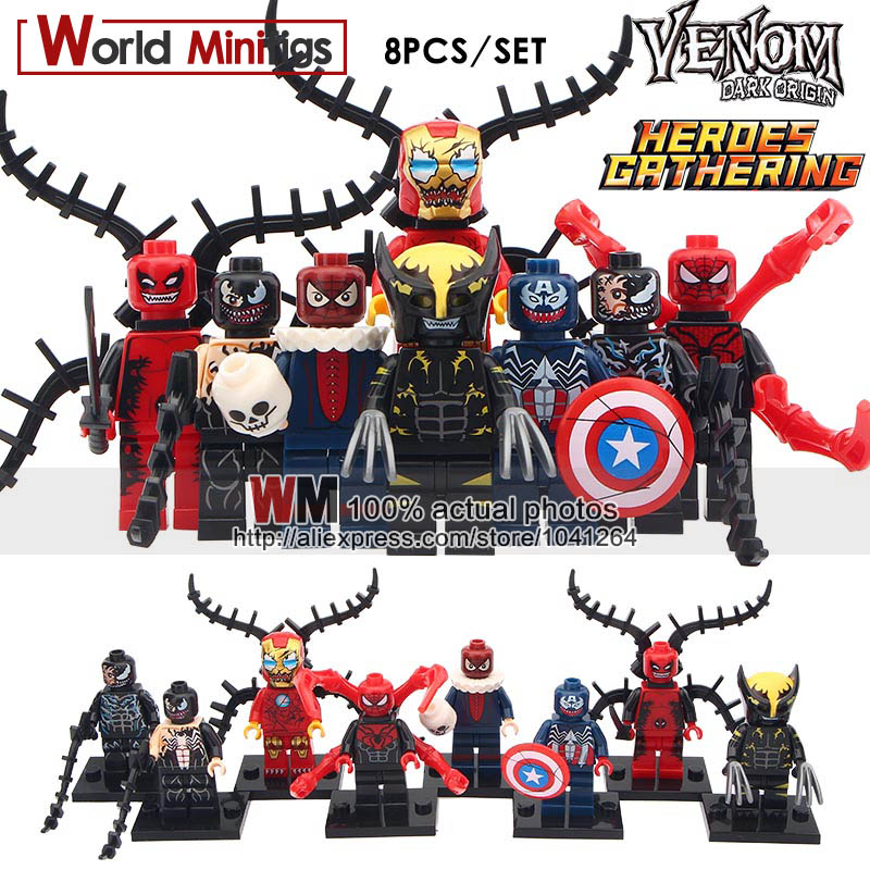 1SET OF Marvel Super Heroes Venom Wolverine Deadpool Iron Man Captain America Spider-Man Building Blocks Toys for Children