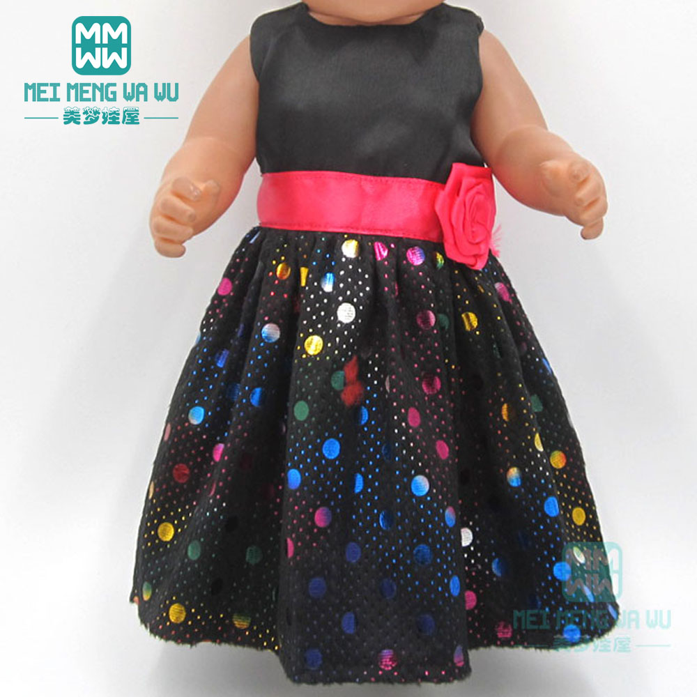 Baby Clothes For Dolls Fits 43cm Toy New Born Doll Accessories Fashion Black Sequined Princess Dress