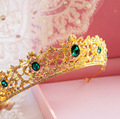 upscale gold alloy green rhinestone bridal crown wedding hair accessories wholesale