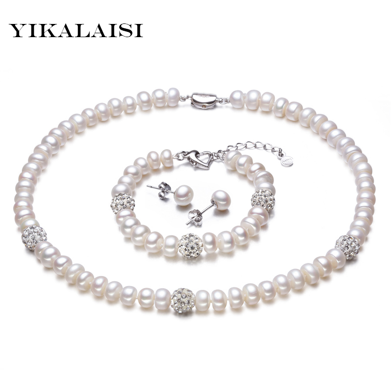 YIKALAISI 2017 New White Color Pearl necklace Sets 8-9mm White Natural Pearl Jewelry 925 sterling silver jewelry For Women yikalaisi 2017 fine natural freshwater pearl necklace 925 sterling silver jewelry 8 9mm real pearl necklace gifts for women