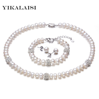 YIKALAISI 2017 New White Color Pearl necklace Sets 8 9mm White Natural Pearl Jewelry 925 sterling silver jewelry For Women