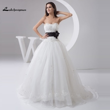 Sexy Strapless A line White and Black Wedding Dresses Custom Made Organza Puffy Bridal Gowns Vestido