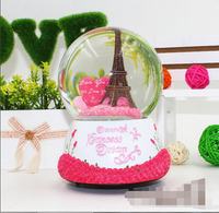 Free Shipping Pink roses love heart shaped crystal ball Eiffel Tower