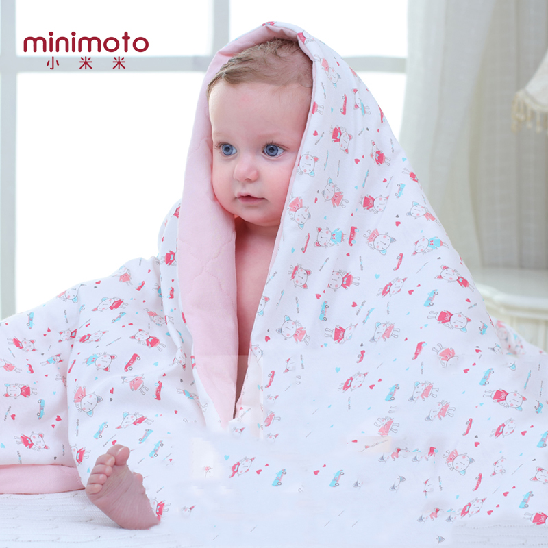 Minimoto Soft Baby Cotton Quilt Blankets Warm Newborn Stroller Sleep Cover Cartoon Infant Bedding Quilt Swaddling Wrap Coverlet breathable bubble thick cartoon kids summer baby quilt blankets soft cotton cloud wings children room blanket bedding 90x130cm