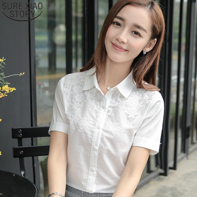 69c9c70695e30 2017 new fashion office lady wear blouse basic summer sweet white blusas  female short-sleeved solid color shirt tops 811C 25