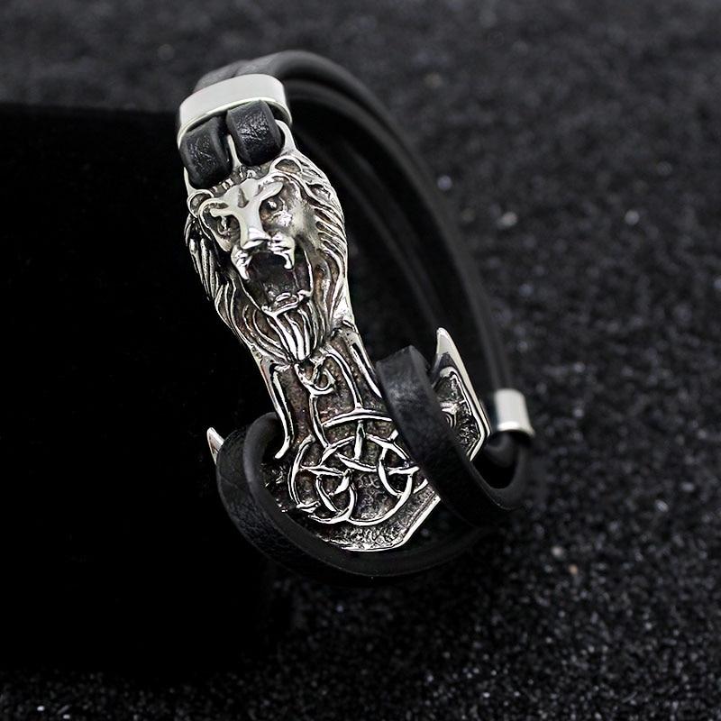 Men Bracelets Leo Stainless Steel Anchor Shackles Multistory Cowhide Rope Chain Black Leather Bracelet Men Wristband Jewelry