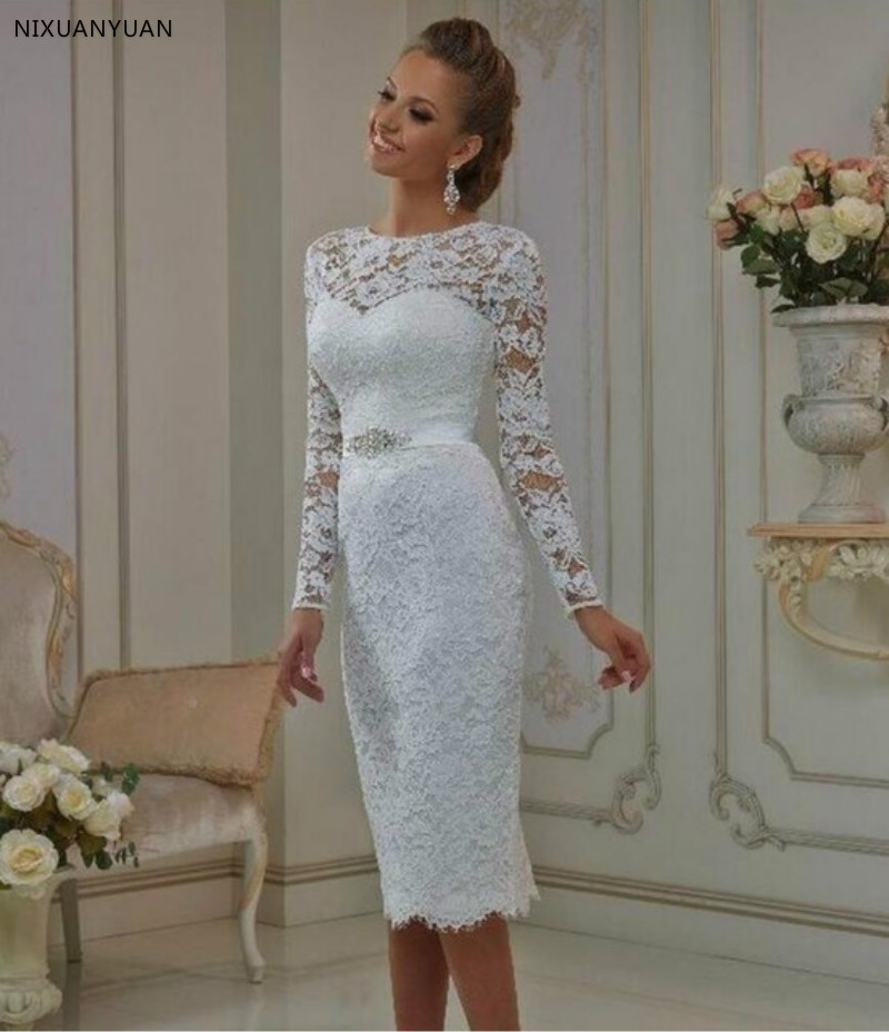Vintage Lace Tea Length Lace Wedding Dress 2020 Long Sleeves Sheath Jewel Crystal Sash Bridal Gowns Robe De Mariage