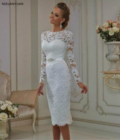 Vintage Lace Tea Length Lace Wedding Dress 2020 Long Sleeves Sheath Jewel Crystal Sash Bridal Gowns Robe De Mariage