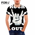FORUDESIGNS Summer Heavy metal men t shirt rock t-shirt man Black t-shirt fashion brand hip hop cotton t-shirt 3D punk toop tees