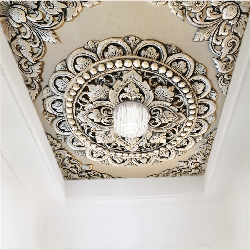 Beibehang Custom Wallpaper 3d 3d Photo Wallpaper Silver Jewelry Flower European Style Background Ceiling Wallpaper For Walls 3 D