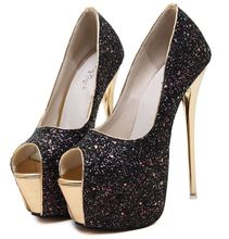 Size 4~9 Party Golden Heels Women Shoes Glitter Sexy High Heels Shoes Women Pumps zapatos mujer (Check Foot Length)