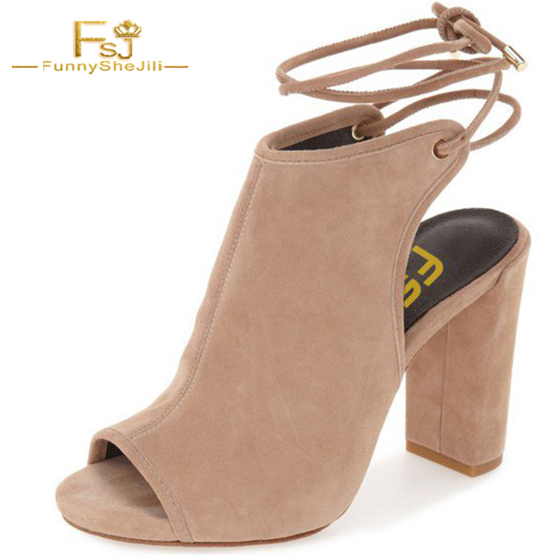New Novelty Tan Suede Women's Burgundy Peep Toe High Chunky Heel Slingback Outdoor Ankle Tied Boots Shoes Top Brand FSJ Design new top grade gift pure tan wooden type h chun tan mu shu h kuan