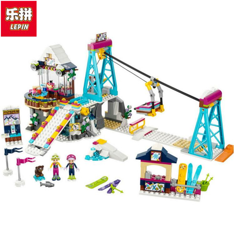 New Lepin girl friends 01042 632PCS Snow Resort Ski Lift FRIENDS 41324 Enlighten Building Blocks Bricks Toys for Girls Gifts 632pcs building blocks snow resrot ski lift girls toys kids bricks toy girl gifts compatible lepins friends diy model toys