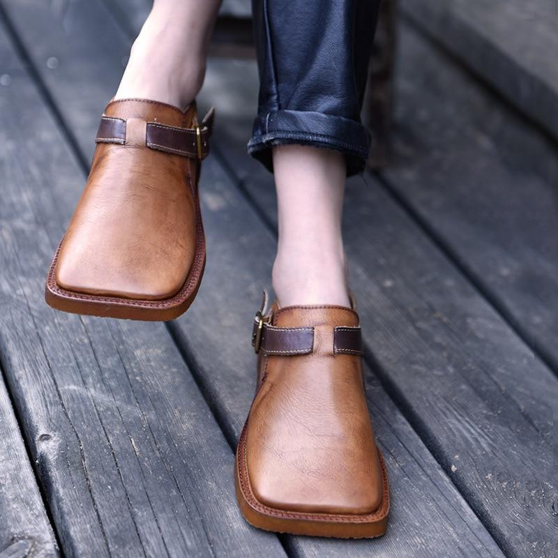 Artmu Originaux 2018 Nouvelles Femmes Chaussures Semelle Plate Quatre Saisons Chaussures À La Main En Cuir Véritable Rétro Chaussures 1822-3