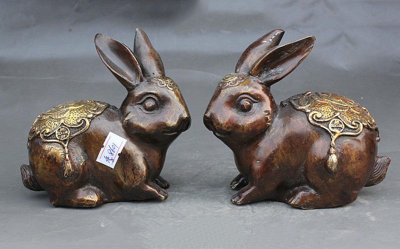 China Bronze Gilt Wealth Coney Auspicious Zodiac Rabbit