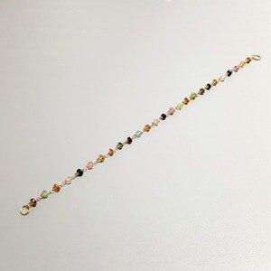 Image 4 - Natürliche Stein Regenbogen Turmalin 925 sterling silber Handgemachte Stricken Glänzende Armband 7  8