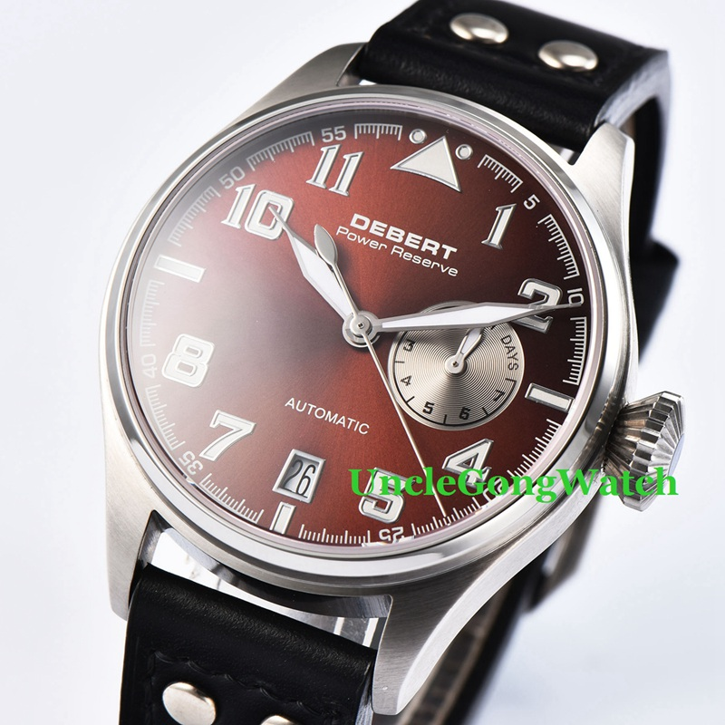 42mm DEBERT Sapphire Glass coffee dial Black Rivets Leather power reserve date Mens Automatic Watches 42mm debert black luminous dial armbanduhr black leather auto movement mens automatic watches lume hands wristwatch