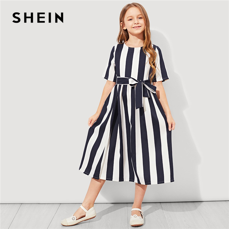 SHEIN Girls Tie Waist Button Striped Casual Dress Kids Clothing 2019 Spring Korean Short Sleeve Elegant A Line Girls Dresses roxy big girls classic short sleeve logo rashguard