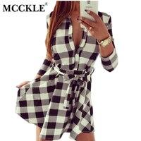 MCCKLE Women Plaid Dresses 2018 Explosions Leisure Vintage Dress Fall Women Check Print Spring Casual Shirt