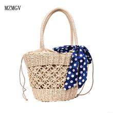 Handmade beach bag with openwork net, woven straw bag, bucket handbag, summer ladies handbag, high quality natural basket цена и фото