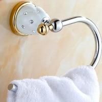 Wholesale And Retail Free Shipping Wall Mounted Towel Bar Round Towel Ring Hanger Ceramic Base Crystal
