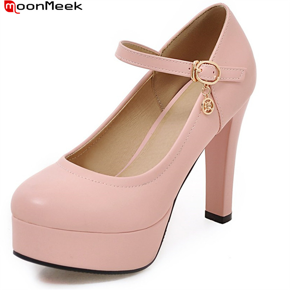 MoonMeek new arrive spring summer sexy ladies pumps platform shoes extreme high heels with buckle square heel woman shoes summer platform wedges party shoes for woman extreme high heels sexy wedding shoes woman comfort female shoes heel