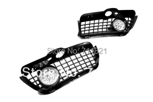 Front Fog Light Kit White LED For VW Golf MK3 bumper grille front fog light kit with led surround for vw golf mk4