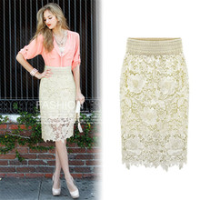 New Fashion Women Lace Hollow Out Skirt Slim Package Hip High Quality knee-length Female Skirt Women Hollow Out Lace Skirt TT422