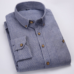 Image 5 - 2017 Summer Mens Printed Long sleeved Shirt Male Breathable Cotton Stripe Fashion Casual Collocation Trend Business Shirt M341